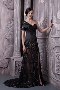 Special Black Short Sleeve Slitted Lace Prom Dress One Shoulder