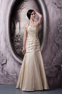 A-line Halter Top Floor-length Champagne Prom Gowns in Arizona