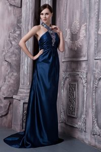 Halter Brush Train Navy Blue Prom Dress with the Back Out