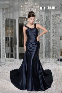 Ruching Beading Straps Brush Train Prom Dresses in Navy Blue 2014