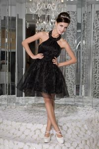 Beaded Halter Black Organza Prom Graduation Dress of Mini Length