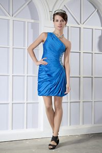 Beaded and Ruched Blue One Shoulder Mini Prom Graduation Dresses