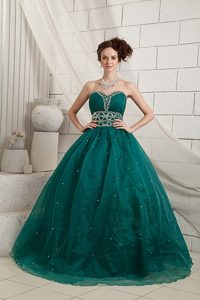 Green A-line Beaded Organza Prom Holiday Dresses of Floor Length