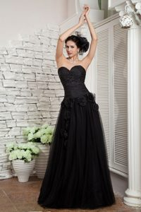 Black Sweetheart Prom Holiday Dress with Beading and Flowers 2014
