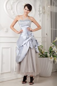 Strapless Ankle Length Silver Prom Dress with Beading and Flowers