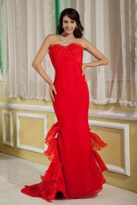 Alaska Popular Red Mermaid Sweetheart Brush Train Prom Gowns