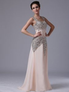 Champagne Chiffon Rhinestones Prom Gowns with Square Neck