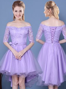 Off the Shoulder Lavender A-line Lace and Bowknot and Belt Quinceanera Court of Honor Dress Lace Up Tulle Half Sleeves High Low