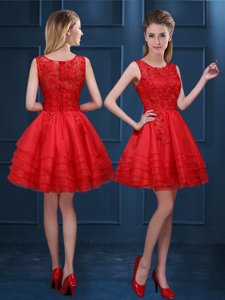 Shining Scoop Mini Length Zipper Quinceanera Court Dresses Red and In for Prom and Party and Wedding Party with Lace and Ruffled Layers