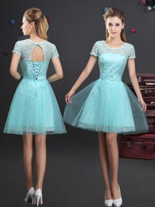 Elegant Scoop Aqua Blue Short Sleeves Mini Length Lace and Appliques and Belt Lace Up Quinceanera Court of Honor Dress