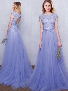 Scoop Cap Sleeves With Train Lace and Belt Backless Quinceanera Dama Dress with Lavender Brush Train