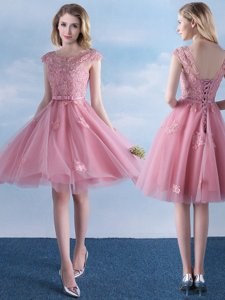 Fitting Tulle Scoop Cap Sleeves Lace Up Appliques and Belt Quinceanera Court Dresses in Pink