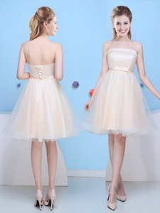 Spectacular Champagne A-line Strapless Sleeveless Tulle Knee Length Lace Up Bowknot Court Dresses for Sweet 16