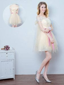 Off the Shoulder Champagne Short Sleeves Tulle Lace Up Court Dresses for Sweet 16 for Prom and Party and Wedding Party