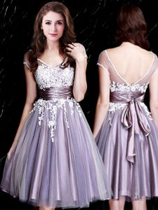 Short Sleeves Knee Length Appliques and Belt Zipper Dama Dress with Lavender