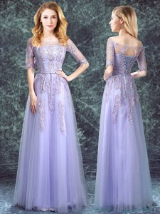 Square Lavender Lace Up Quinceanera Court of Honor Dress Appliques Half Sleeves Floor Length