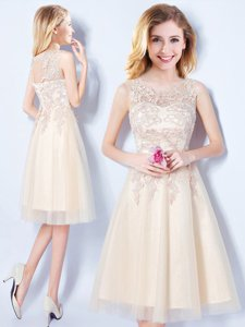 Scoop Appliques Vestidos de Damas Champagne Lace Up Sleeveless Knee Length