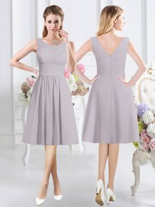 Halter Top Grey Chiffon Zipper Damas Dress Sleeveless Knee Length Lace and Ruching