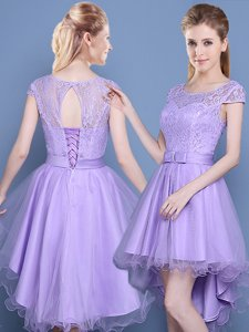 Scoop Cap Sleeves Lace Lace Up Quinceanera Court Dresses