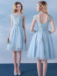 Delicate Light Blue Tulle Lace Up Scoop Cap Sleeves Knee Length Quinceanera Court of Honor Dress Appliques and Belt