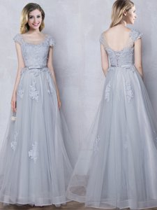 Scoop Floor Length Grey Quinceanera Court Dresses Tulle Cap Sleeves Lace and Appliques and Belt