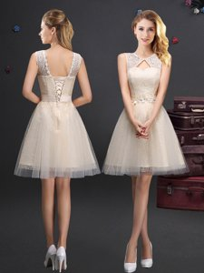Scoop Champagne Sleeveless Tulle Lace Up Dama Dress for Prom and Party and Wedding Party