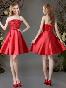 Ideal Strapless Sleeveless Lace Up Court Dresses for Sweet 16 Red Satin