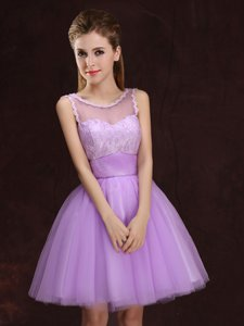 Gorgeous Scoop Lace and Ruching Dama Dress Lilac Lace Up Sleeveless Mini Length