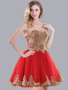High End Red Sleeveless Mini Length Appliques Lace Up Dama Dress for Quinceanera