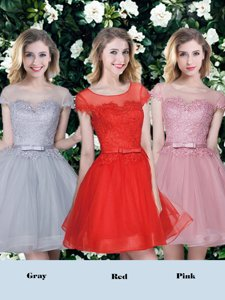 Fantastic Scoop Short Sleeves Damas Dress Mini Length Appliques and Belt Red and Pink and Grey Tulle