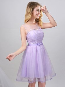Decent Scoop Lavender A-line Lace and Appliques and Belt Dama Dress for Quinceanera Lace Up Tulle Sleeveless Mini Length