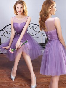 Fancy Scoop Sleeveless Mini Length Beading and Ruching and Belt Lace Up Quinceanera Court Dresses with Lavender