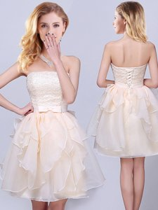 Clearance Champagne Lace Up Strapless Lace and Ruffles and Belt Quinceanera Court Dresses Organza Sleeveless