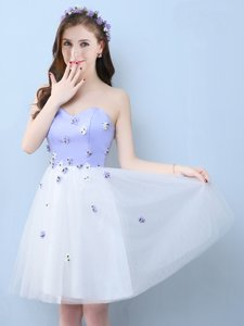 New Arrival Aqua Blue Empire Lace and Appliques and Bowknot Quinceanera Dama Dress Lace Up Tulle Short Sleeves Knee Length