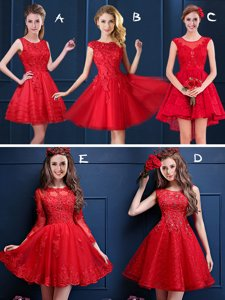 Scoop Red Sleeveless Lace and Appliques Mini Length Damas Dress