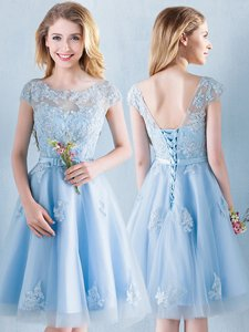 Scoop Light Blue Tulle Lace Up Court Dresses for Sweet 16 Short Sleeves Knee Length Appliques and Bowknot
