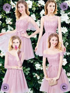 Pink Empire Tulle Sleeveless Appliques and Belt Mini Length Lace Up Dama Dress