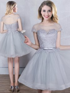 Scoop Short Sleeves Appliques and Belt Lace Up Court Dresses for Sweet 16