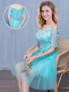 Delicate Off the Shoulder Aqua Blue Lace Up Quinceanera Court of Honor Dress Lace and Appliques and Bowknot Short Sleeves Knee Length