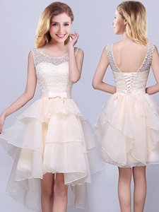 High Class White Sleeveless Beading Mini Length Quinceanera Court of Honor Dress