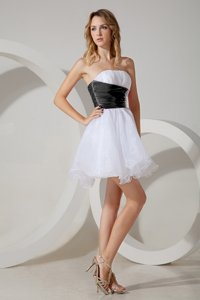 Chic Mini Length White and Black and White And Black Dama Dress for Quinceanera Strapless Sleeveless Zipper
