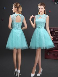 Aqua Blue Sleeveless Tulle Lace Up Damas Dress for Prom and Party and Wedding Party
