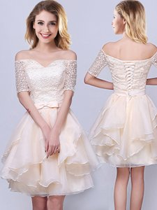 Champagne Off The Shoulder Neckline Lace and Ruffles and Belt Quinceanera Court Dresses Short Sleeves Lace Up