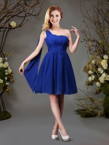 One Shoulder Sleeveless Chiffon Mini Length Zipper Damas Dress in Royal Blue for with Beading and Ruching