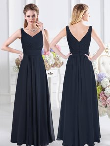 V-neck Sleeveless Quinceanera Court Dresses Floor Length Ruching Navy Blue Chiffon