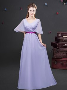 Shining Chiffon Half Sleeves Floor Length Court Dresses for Sweet 16 and Ruching and Belt