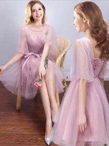 Scoop Pink Half Sleeves Ruching and Bowknot Mini Length Court Dresses for Sweet 16