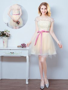Scoop Short Sleeves Lace Up Damas Dress Champagne Tulle
