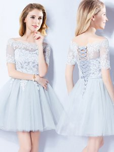 Fabulous Off the Shoulder Short Sleeves Lace Up Mini Length Lace Quinceanera Court Dresses