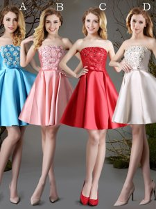 Red and Baby Blue and Champagne Damas Dress Prom and Party and Wedding Party and For with Appliques and Bowknot Strapless Sleeveless Lace Up